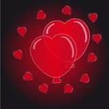 Hearts balloon on black- red  background Royalty Free Stock Photography