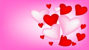 Hearts, balloon and happy Valentines day. Royalty Free Stock Image