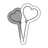 hearts balloons air icon Royalty Free Stock Images