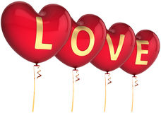 Hearts balloons decorarted Love word Stock Photos