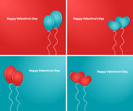Hearts and balloons Happy Valentine's Day. Valentine's Day. Hearts on a red background in the form of florets. Vector illustration. Set Royalty Free Illustration