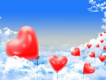 Hearts balloons over the clouds Royalty Free Stock Photography