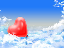 Hearts balloons over the clouds Stock Photography