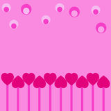 Hearts and balls. On pink background royalty free illustration