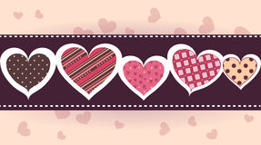 Hearts. Baner five hearts on a light background Stock Photos