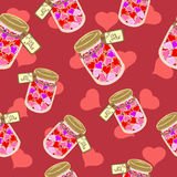 Hearts in the bank. Seamless pattern of colored hearts in a glass jar Royalty Free Stock Images