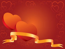 Hearts and banner. Illustration ready to use like a invitation or Valentines card Stock Photo
