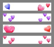 Hearts banners. Four banners of watercolor hearts on wihite backgrounds Royalty Free Stock Photography
