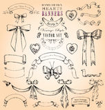 Hearts, Banners & Bows Vector Set Royalty Free Stock Photography