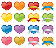 Hearts and Banners. Glossy hearts with and without banners in a variety of colours. Switch hearts under banners for different colour combos Royalty Free Stock Photo