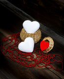 Hearts, Basket And String Of Beads. Stock Image