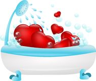 Hearts in bath Stock Photography