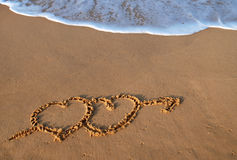 Hearts on beach Royalty Free Stock Photos