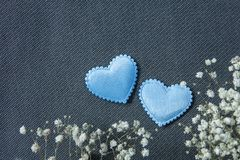 Hearts and beautiful flowers on grey background royalty free stock photo