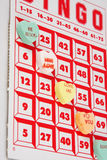 Hearts Bingo. Candy hearts being used as chips in a game of Bingo royalty free stock photography