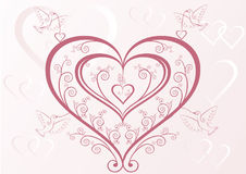 Hearts and birds Stock Image