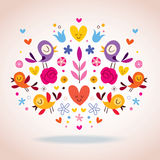 Hearts, birds and flowers vector illustration Royalty Free Stock Image
