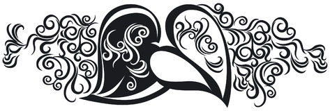 Hearts in black. Ornate Design with hearts in black Royalty Free Stock Photography