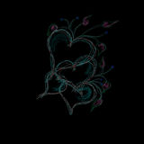 Hearts on black background. Illustration from some beautiful colorful hearts on black background Royalty Free Stock Photos