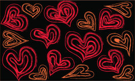 Hearts on a black background Stock Photography