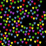 Hearts on a black background. Royalty Free Stock Photos
