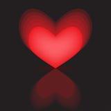 Hearts black background reflection Stock Photos