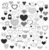 Hearts. Black and white hearts sketch Stock Photos
