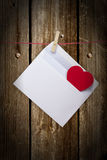 Hearts and blank envelop isolated on white background Royalty Free Stock Photo