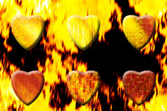 Hearts with blazing flames Royalty Free Stock Images