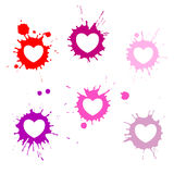 Hearts blots. A set of stylized hearts with grungy blots Royalty Free Stock Images
