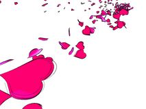 Hearts blowing in the wind. An illustration of a large number of  pink heart shapes blowing in the wind on a white background Stock Photography