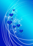 Hearts on Blue. Hearts and sparkles on a blue background royalty free illustration