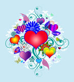 Hearts on blue background Stock Image