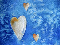 Hearts on Blue Background Stock Photography