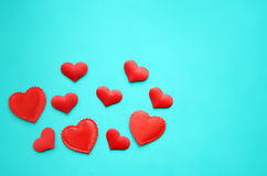 Hearts on a blue background stock photography