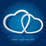 Hearts on blue background Stock Image