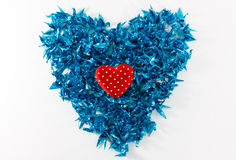 The  hearts and the blue birds paper on the white background. Royalty Free Stock Photo