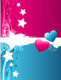 Hearts in blue and red Stock Photography