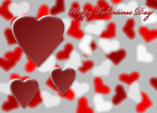 Hearts on blurry heart background Royalty Free Stock Photography