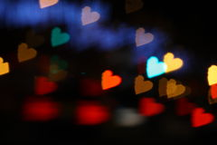 Hearts bokeh colorful Stock Photography