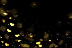 Hearts bokeh overlay, abstract background, shiny gold hearts bokeh. Gold and yellow hearts bokeh overlay, hearts photo overlay, abstract background, shiny gold vector illustration