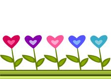 Hearts border. Abstract illustration of border with different colour hearts vector illustration