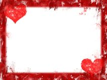 Hearts border. Grunge red hearts frame over white background Stock Image