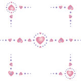 Hearts-border-corners stock images