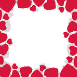 Hearts border made in contemporary geometric style, vector backg Stock Images