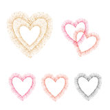 Hearts borders set, colorful dots background. Royalty Free Stock Image