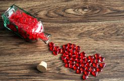 Hearts in a bottle royalty free stock images