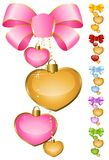 Hearts with bow. Set of beautiful hearts with bow for the day of sainted Valentine Stock Image