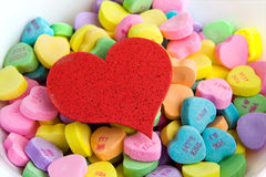 Hearts in a bowl Stock Images