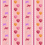 Hearts and bows needlework Royalty Free Stock Images